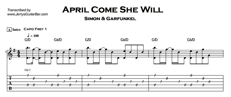 Simon Garfunkel April Come She Will Jerrys Guitar Bar