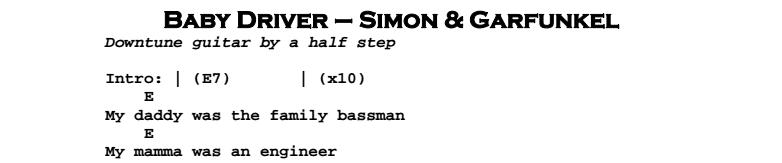 Simon & Garfunkel – Baby Driver Chords & Songsheet