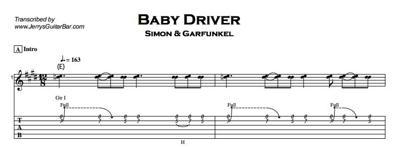 Simon & Garfunkel – Baby Driver Tab