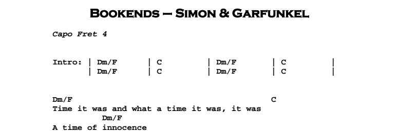 Simon & Garfunkel – Bookends Chords & Songsheet