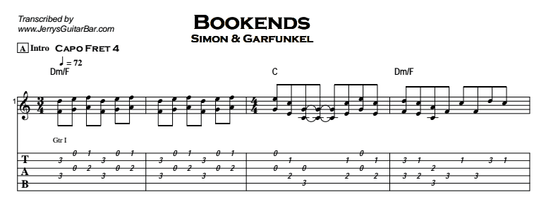 Simon & Garfunkel – Bookends Tab