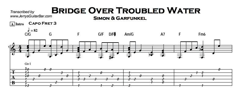 Bridge Over Troubled Water | Guitar Lesson, Tabs & Chords | JGB