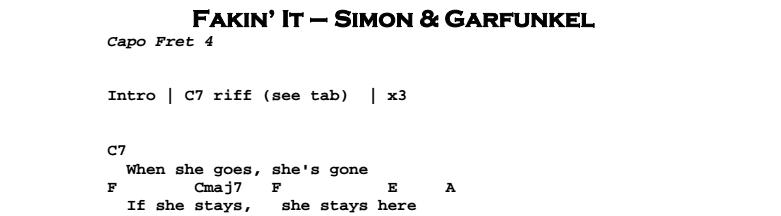 Simon & Garfunkel – Fakin' It Chords & Songsheet