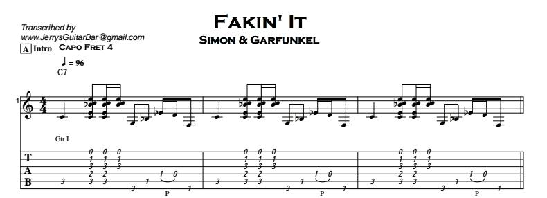 Simon & Garfunkel – Fakin' It Tab