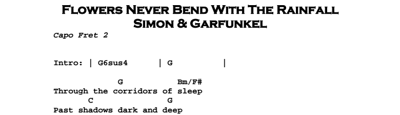 Simon & Garfunkel – Flowers Never Bend With The Rainfall Chords & Songsheet