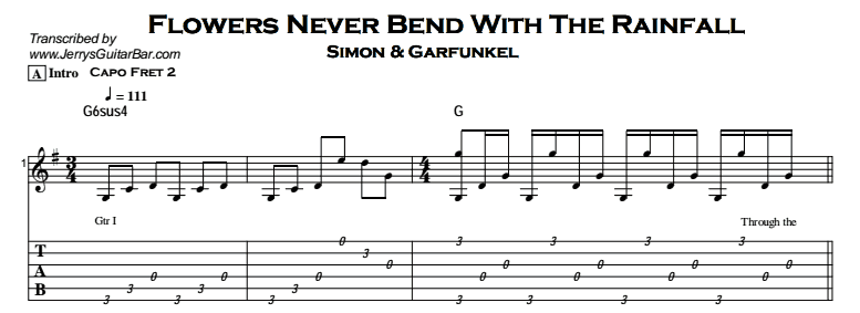 Simon & Garfunkel – Flowers Never Bend With The Rainfall Tab