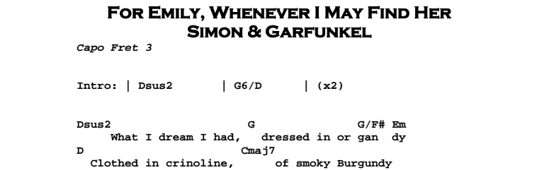 Simon & Garfunkel – For Emily, Whenever I May Find Her Tab Chords & Songsheet