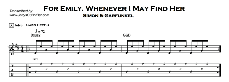 Simon & Garfunkel – For Emily, Whenever I May Find Her Tab