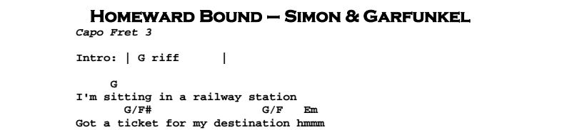 Simon & Garfunkel – Homeward Bound Chords & Songsheet