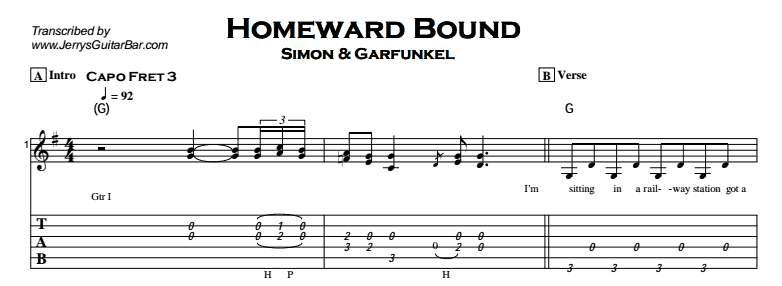 Simon & Garfunkel – Homeward Bound Tab