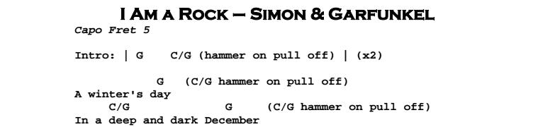 Simon & Garfunkel – I Am a Rock Tab
