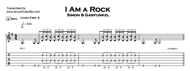 Simon & Garfunkel – I Am a Rock Tab