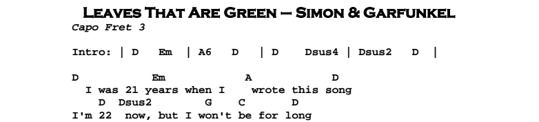 Simon & Garfunkel – Leaves That Are Green Chords & Songsheet