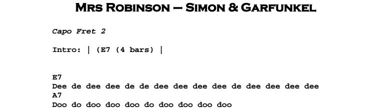 Simon & Garfunkel – Mrs Robinson Chords & Songsheet