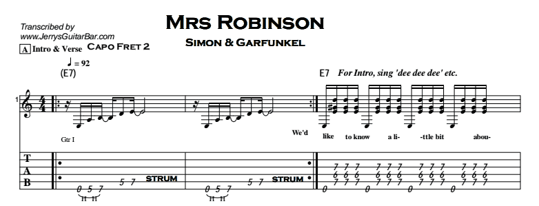 Simon & Garfunkel – Mrs Robinson | Guitar Lesson, Tabs & Chords | JGB