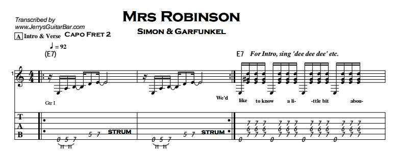 Simon & Garfunkel – Mrs Robinson Tab