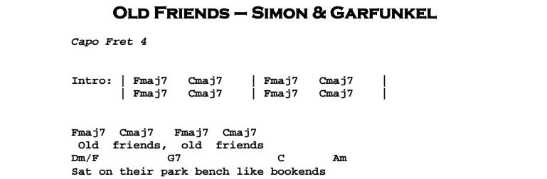 Simon & Garfunkel – Old Friends Chords & Songsheet