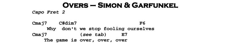Simon & Garfunkel – Overs Chords & Songsheet