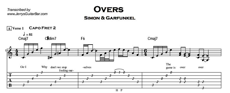 Simon & Garfunkel – Overs Tab