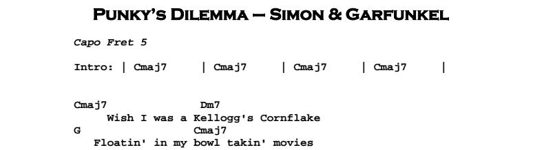 Simon & Garfunkel – Punky's Dilemma Chords & Songsheet