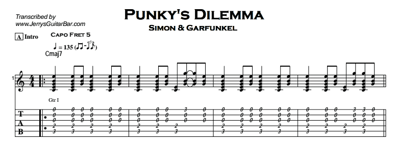 Simon & Garfunkel – Punky's Dilemma Tab