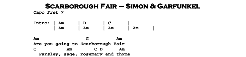 Simon & Garfunkel – Scarborough Fair Chords & Songsheet