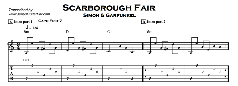Scarborough Fair | Guitar Lesson, Tabs & Chords | Jerry\'s Guitar Bar