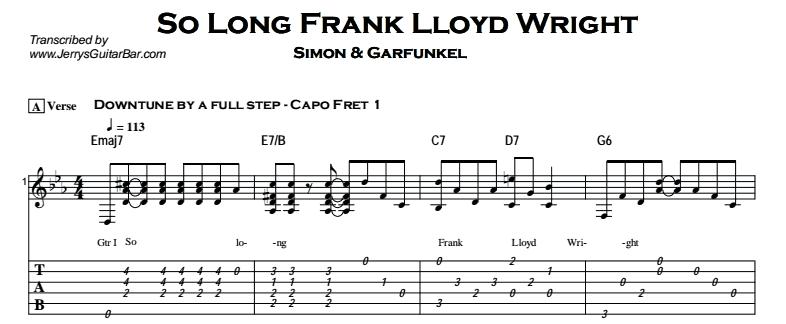 Simon & Garfunkel – So Long, Frank Lloyd Wright Tab
