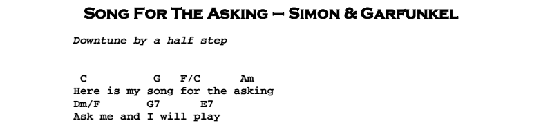 Simon & Garfunkel – Song For The Asking Chords & Songsheet