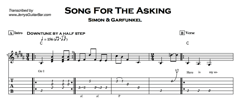 Simon & Garfunkel – Song For The Asking Tab