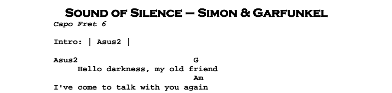 Simon & Garfunkel – The Sound of Silence Chords & Songsheet