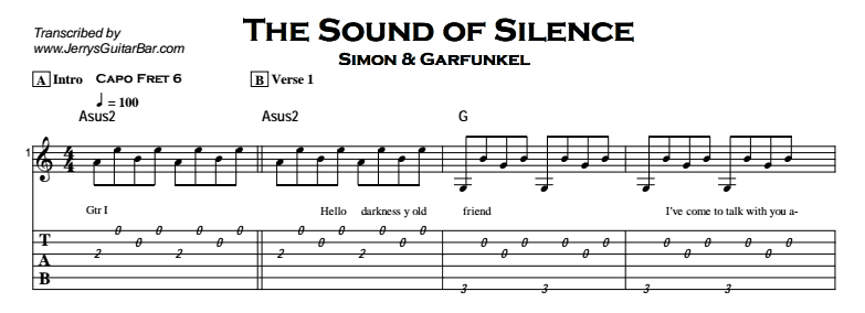 Simon & Garfunkel – The Sound of Silence Tab