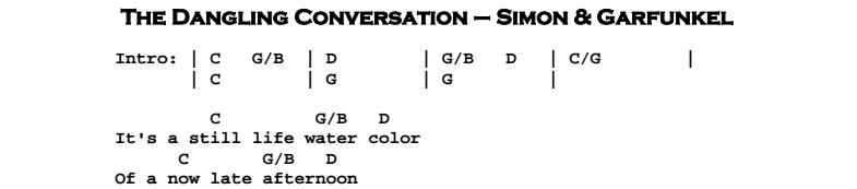 Simon & Garfunkel – The Dangling Conversation Chords & Songsheet