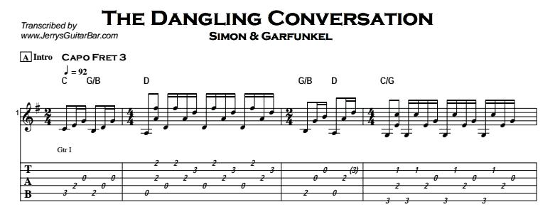 Simon & Garfunkel – The Dangling Conversation Tab
