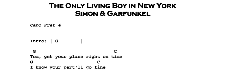 Simon & Garfunkel – The Only Living Boy in New York Chords & Songsheet