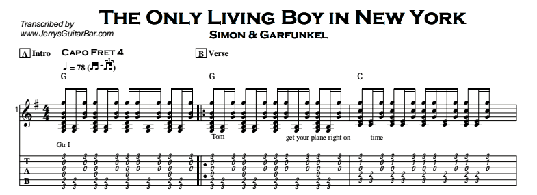Simon & Garfunkel – The Only Living Boy in New York Tab