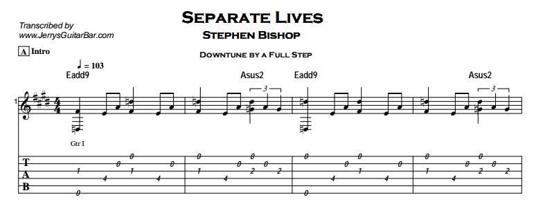 Stephen Bishop – Separate Lives Tab