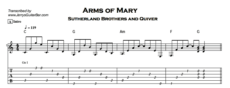 Sutherland Brothers and Quiver – Arms Of Mary Tab
