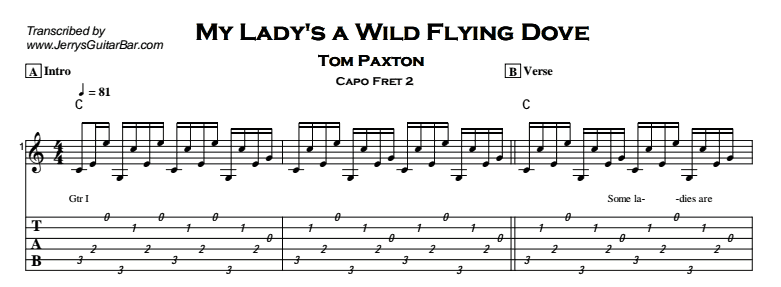 Tom Paxton – My Lady's a Wild Flying Dove Tab