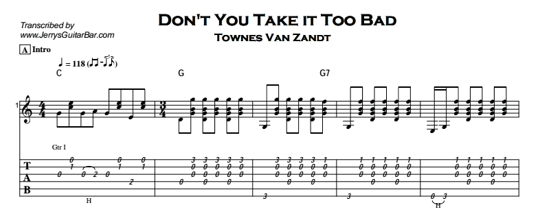 Townes Van Zandt – Don't You Take it Too Bad Tab