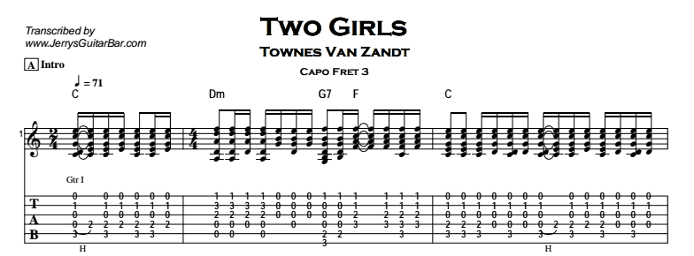 Townes Van Zandt – Two Girls Tab