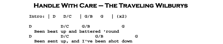 The Traveling Wilburys – Handle With Care Chords & Songsheet