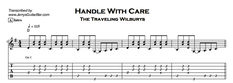 The Traveling Wilburys – Handle With Care Tab