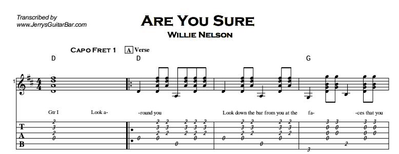 Willie Nelson - Are You Sure Tab