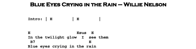 Willie Nelson - Blue Eyes Crying in the Rain Chords & Songsheet