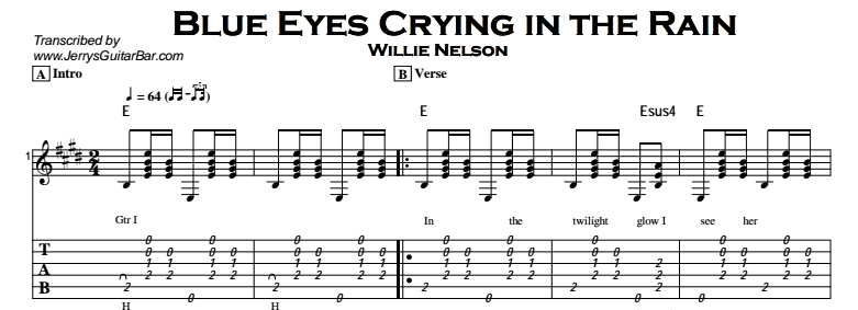 Willie Nelson - Blue Eyes Crying in the Rain Tab