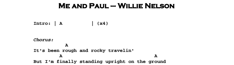 Willie Nelson - Me and Paul Chords & Songsheet