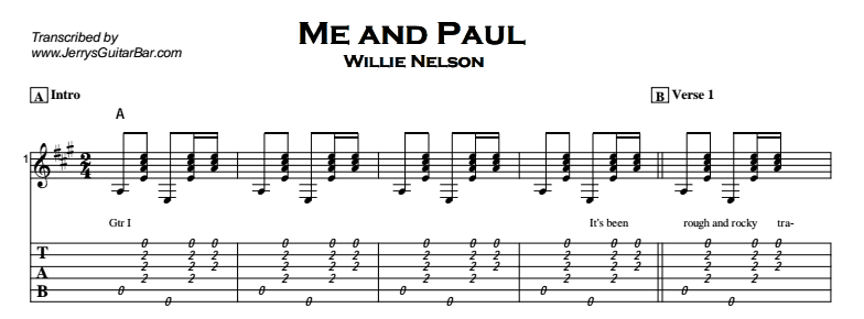 Willie Nelson - Me and Paul Tab