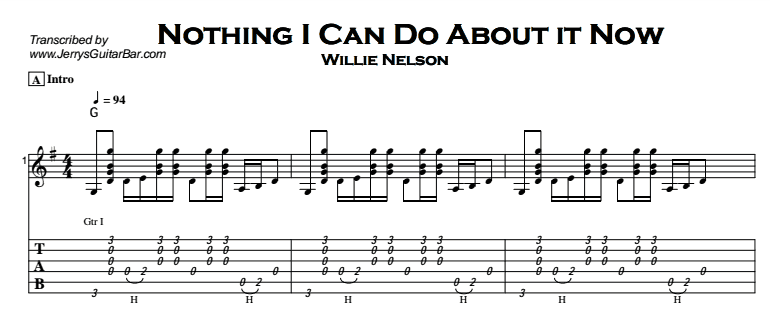 Willie Nelson - Nothing I Can Do About it Now Tab