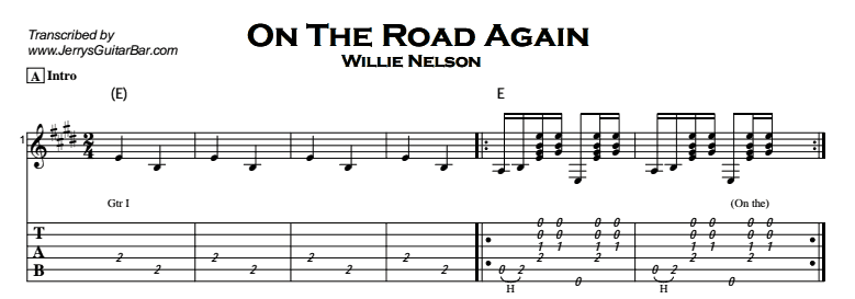Willie Nelson - On The Road Again Tab